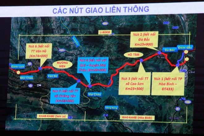 Sơ đồ tuyến cao tốc Hòa Bình - Mộc Châu.
