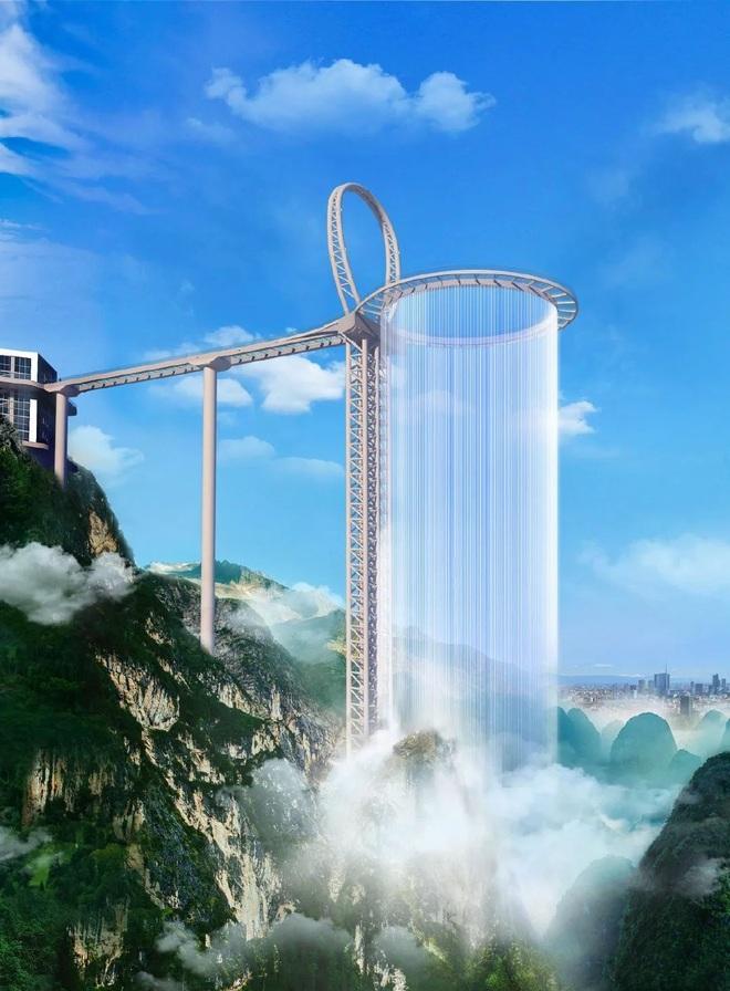 Choáng ngợp với cầu kính cao 500 m gắn thác nước khổng lồ - 2