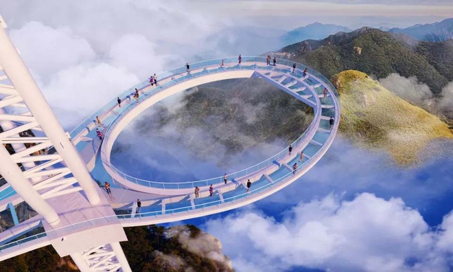 Choáng ngợp với cầu kính cao 500 m gắn thác nước khổng lồ - 3