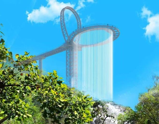 Choáng ngợp với cầu kính cao 500 m gắn thác nước khổng lồ - 7