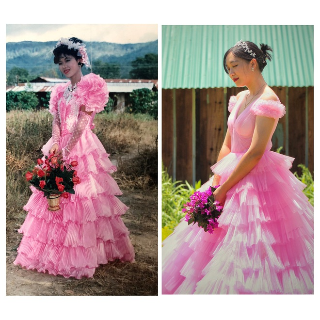 Nhà thiết kế 9x tự cosplay váy cưới 30 năm trước của mẹ - 2