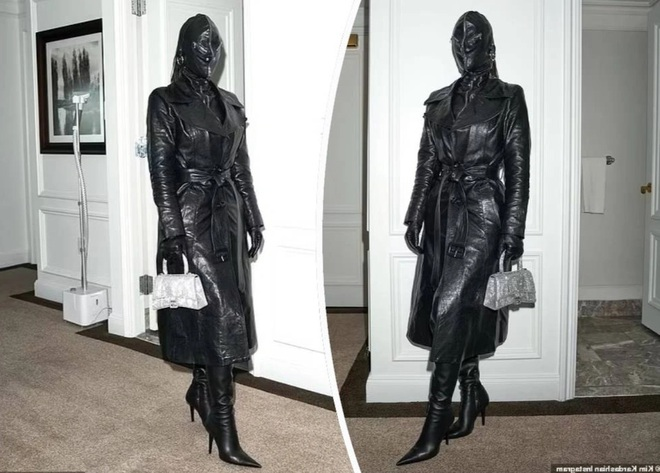 Cây đồ da kín từ đầu đến chân của Kim Kardashian - 2