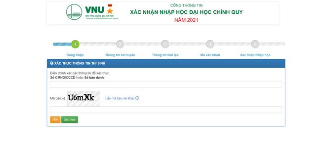 Thí sinh xác nhận nhập học trực tuyến vào ĐH Quốc gia Hà Nội từ ngày 17/9 - 2