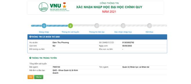 Thí sinh xác nhận nhập học trực tuyến vào ĐH Quốc gia Hà Nội từ ngày 17/9 - 3