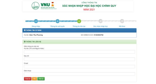 Thí sinh xác nhận nhập học trực tuyến vào ĐH Quốc gia Hà Nội từ ngày 17/9 - 4