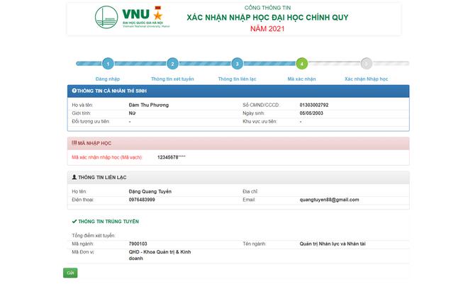 Thí sinh xác nhận nhập học trực tuyến vào ĐH Quốc gia Hà Nội từ ngày 17/9 - 6