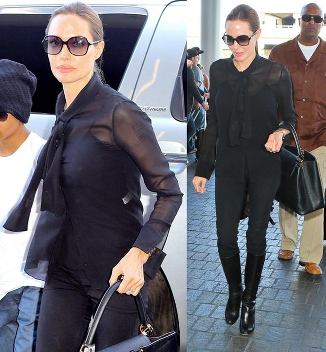 Angelina Jolie mặc đồ đen giản dị vẫn đẹp nổi bật ngoài sân bay - 8