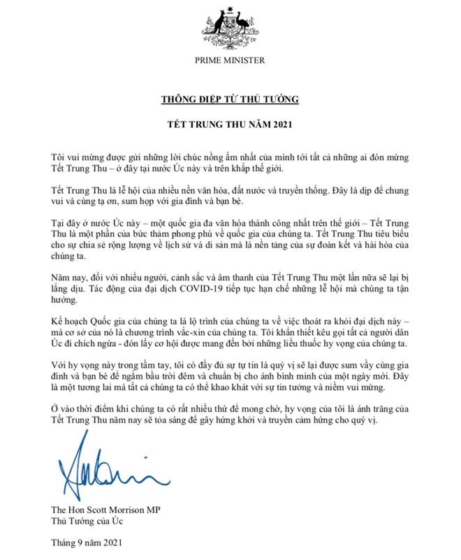 Thủ tướng Australia Scott Morrison gửi thư chúc mừng tết Trung thu - 1