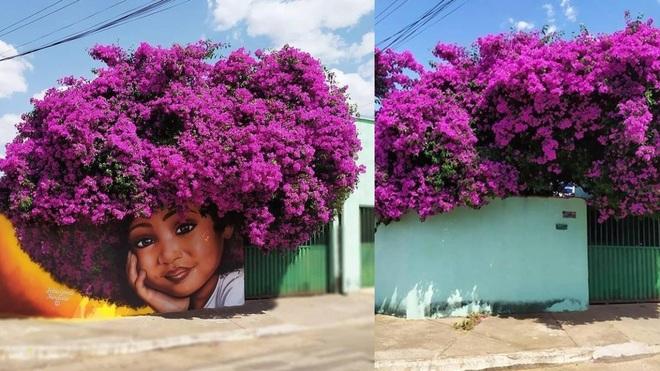 Bức tranh cô bé với mái tóc là giàn hoa giấy khổng lồ gây sốt mạng xã hội - 2