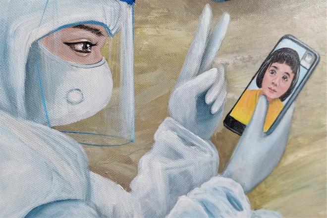Xúc động bé cách ly, mẹ gọi zalo gặp con qua tranh vẽ của họa sĩ Bạc Liêu - 4
