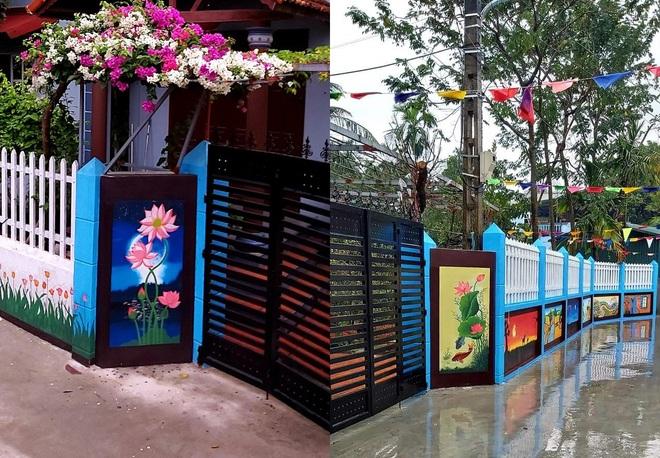 Mẹ đảm ở Vĩnh Phúc biến tường rào cũ kỹ thành loạt tranh vẽ sinh động - 9