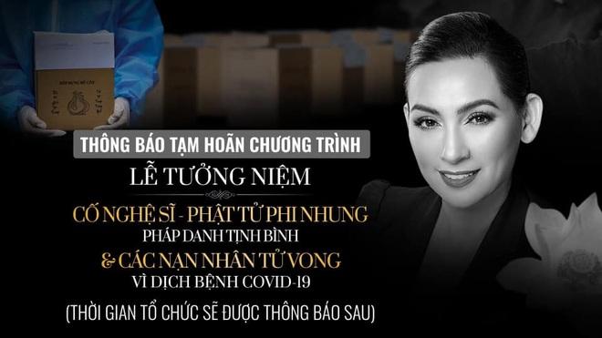 Tạm hoãn thời gian tổ chức lễ tưởng niệm ca sĩ Phi Nhung - 1