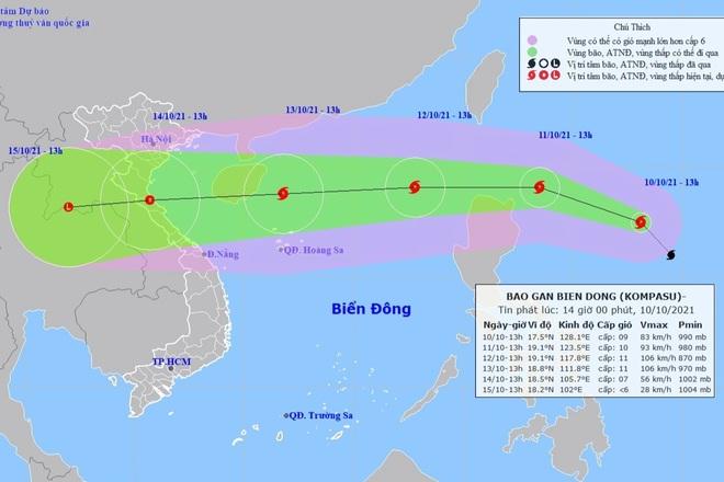 Bão Kompasu sắp vào Biển Đông, dự báo rất mạnh - 1