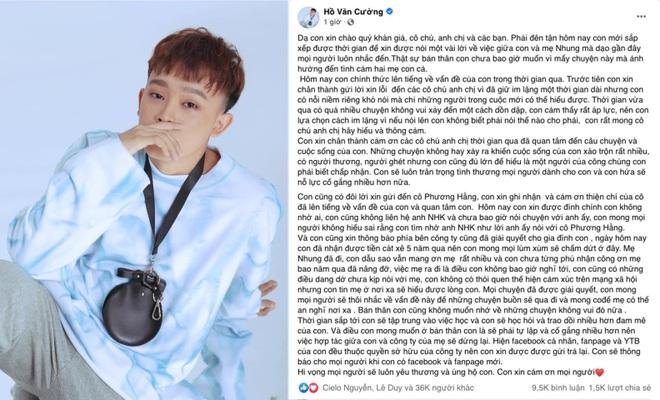 Hồ Văn Cường dừng hợp tác, trả lại kênh YouTube cho công ty Phi Nhung - 1