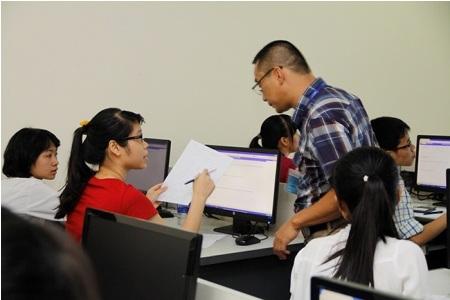 Một giờ kiểm tra của sinh viên ĐH Quốc gia Hà Nội. (Ảnh: Bùi Tuấn)