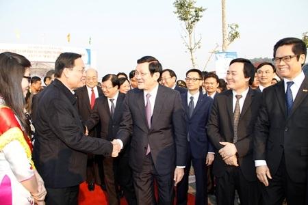Chủ tịch nước Trương Tấn Sang tới dự Lễ động thổ trường ĐH Việt Nhật