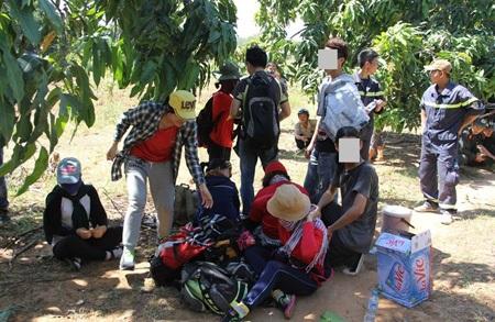 Các thành viên   trong đoàn 20 bạn trẻ sau khi được đưa xuống núi Bà Đen. Ảnh: Thu Đông