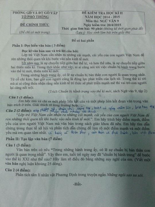 Đề kiểm tra học kỳ II môn ngữ văn lớp 9 tại quận Gò Vấp - TP HCM