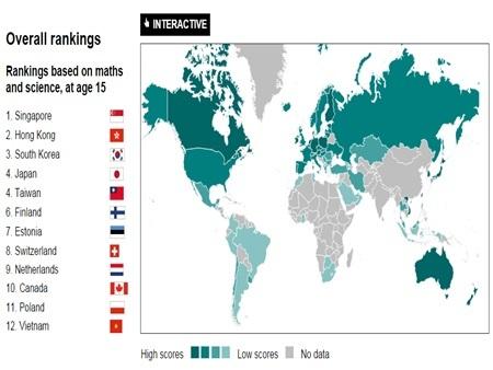 12 quốc gia đứng đầu bảng xếp hạng, trong đó có Việt Nam