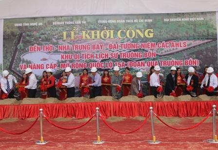 Khởi công xây dựng Khu di tích Truông Bồn và dự án nâng cấp, cải tạo quốc lộ 15A