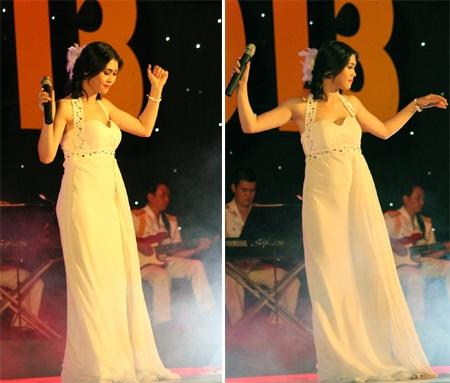Bùi Thị Như Quỳnh SBD 01 thể hiện hai ca khúc: Thu cạn và Trên đỉnh Phù Vân.