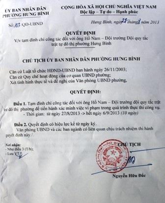 Quyết định của UBND phường Hưng Bình tạm đình chỉ công tác 10 ngày đối với ông Hồ Nam