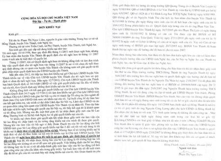 Đơn thư của cô Phạm Thị NgọcLiêm gửi tới VP báo Dân trí thường trú tại Nghệ An kêu cứu.