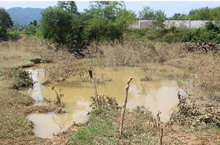 Khe nước trước nhà chị Hoa bị ngập sâu trong nước giờ đã cạn.