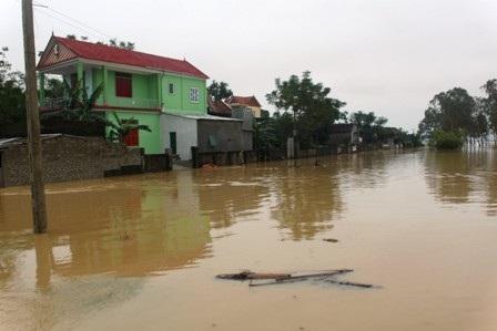 Mưa lớn trong 3 ngày qua khiến mực nước sông Lam dâng nhanh, gây ngập lụt tại một số vùng hạ lưu