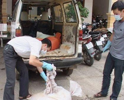 Nội tạng bẩn bị cơ quan chức năng tỉnh Lạng Sơn bắt giữ.