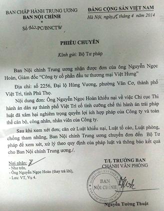 Ban Nội chính Trung ương đề nghị làm rõ vụ cưỡng chế tại TP Việt Trì.