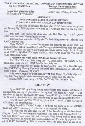 UBND tỉnh Phú Thọ bật đèn xanh cho vụ thi hành án chấn động TP Việt Trì?