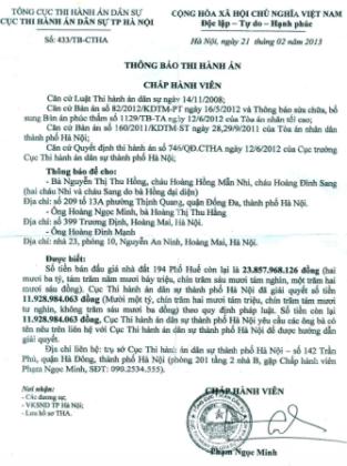 Bài 46: Cục thi hành án TP Hà Nội đối mặt hàng loạt khiếu nại của gia đình 194 phố Huế
