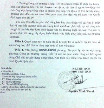 Quyết định đình chỉ thi công với tòa cao ốc của UBND phường Tràng Tiền.