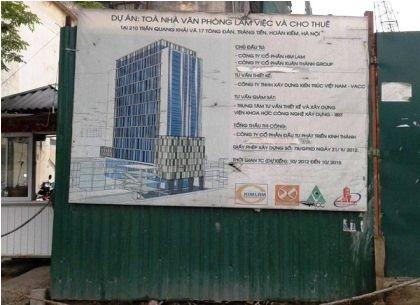 Tòa cao ốc bị đình chỉ xây dựng do g