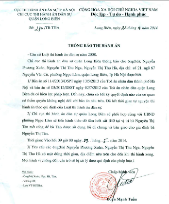 Chi cục THA dân sự quận Long Biên vẫn tiế