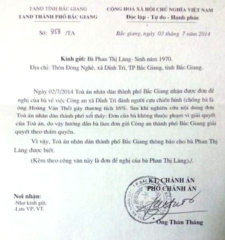 TAND TP Bắc Giang trả lời đơn khiếu nại của bà Phan Thị Lăng.