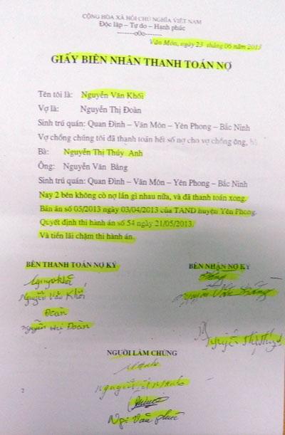Bên được thi hành bản án số 05 xác nhận việc ông Khối đã thực hiện xong nghĩa vụ tài chính