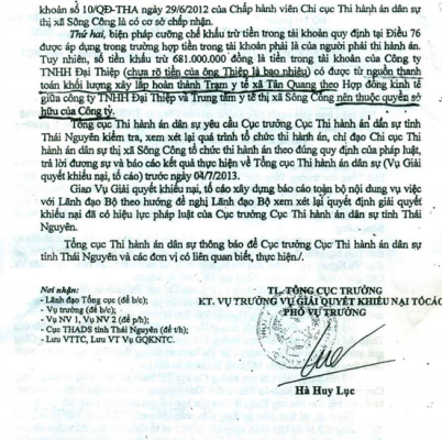 Tổng Cục thi hành án Ťân sự kết luận sai phạm của Chi cục thi hành án dân sự TX Sông Công.