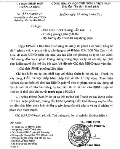 Chủ tịch quận Ba Đình chỉ đạo xử lý sai phạm bị chìm xuồng tại phường Liễu Giai.