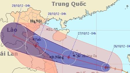Đường đi của bão số 8 (Ảnh NCHMF)