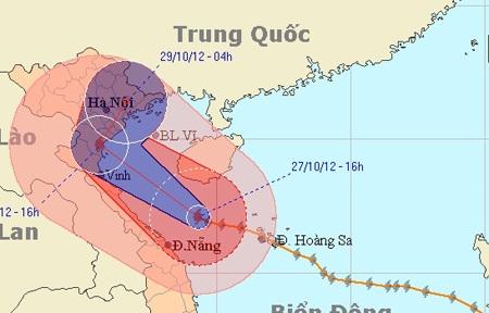 Bão số 8 gây mưa diện rộng khắp miền Trung và miền Đồng bằng Bắc bộ. (Ảnh: NCHMF)
