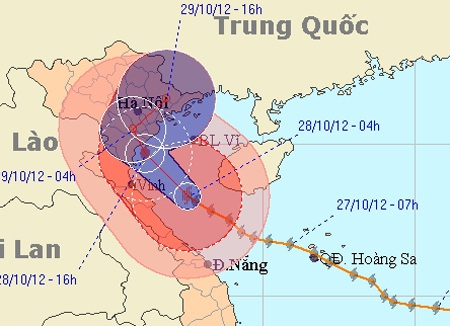 Chiều nay bão quét dọc vùng biển Thái Bình- Nghệ An. (Ảnh: NCHMF)
