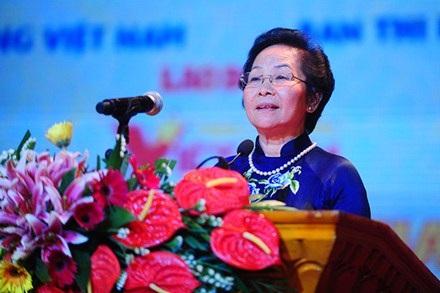 Phó Chủ tịch nước Nguyễn Thị Doan phát biểu tại buổi lễ. (Ảnh: LĐ)