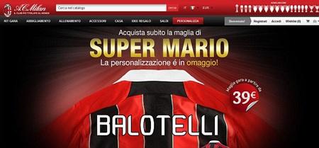 Áo của Balotelli đã chính thức được rao bán trên trang web chính thức của AC Milan