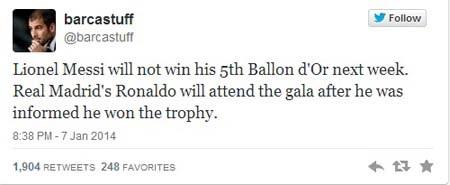 Tài khoản Twitter xác nhận C.Ronaldo sẽ đoạt giải