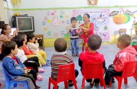 Giờ học của các cháu mầm non trên địa bàn huyện Anh Sơn (Nghệ An).