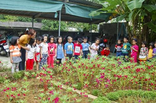 Các cháu Trường mầm non thị trấn Anh Sơn trong giờ học thực nghiệm. (Ảnh: Sỹ Thuần)