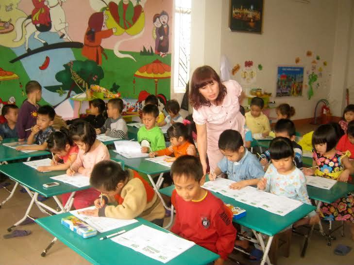 Giờ học của học sinh mầm non tại Nghệ An (hình minh họa).
