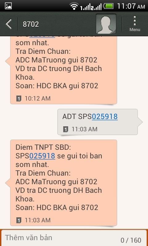 Tin nhắn tra điểm được tổng đài 8702 trả lời